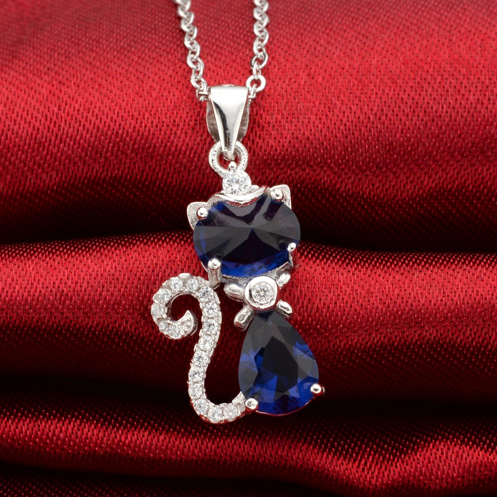 .925 Sterling Silver Cat Necklace Blue Cubic Zircon Pendant