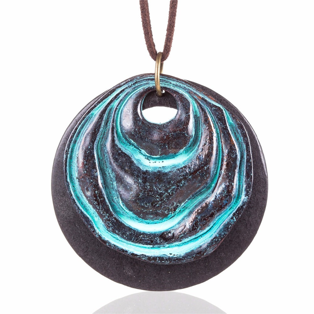 Woman's Adjustable Leather Cord and Water Pendant Necklace