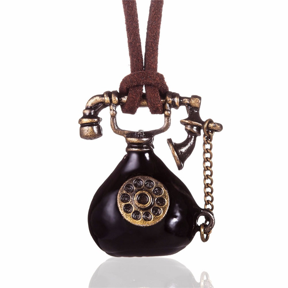 Vintage Telephone Necklace with Leather Cord
