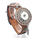25CM Adjustable Snap Bracelet Leather 18mm Snap Button Unisex Multiple Designs