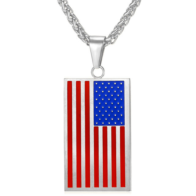 Stainless Steel American Flag Dog Tag