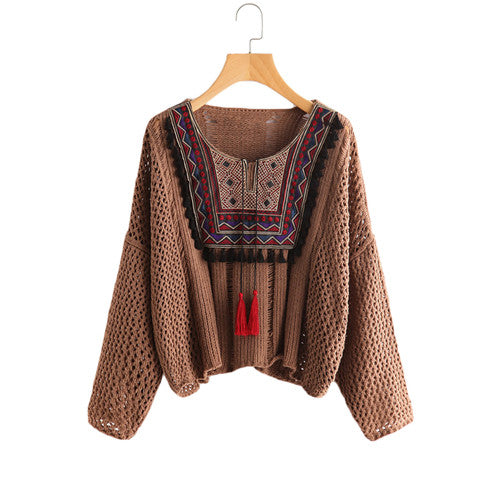Embroidered Open Stitch Pullover Sweater