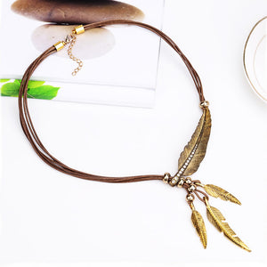 Women's Feather Necklaces With Leather Cord 3 Styles!