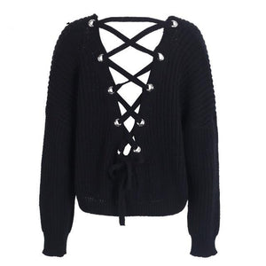 Backless, Metal Grommet Tie Sweater