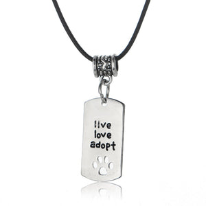 Live Love Adopt Paw Charm Leather Chain
