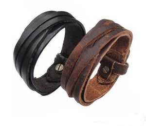 Men's Leather Snap Clasp Bracelet
