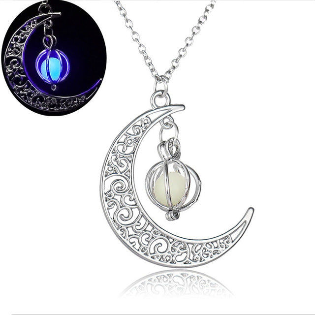 Glow In The Dark Moon Necklace Mother/Child