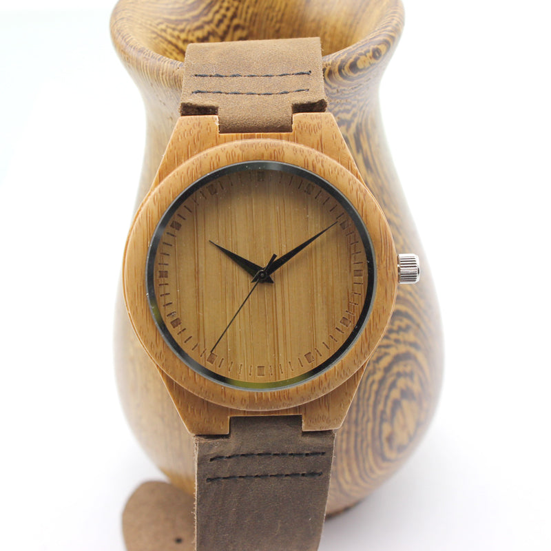 Unique Handcrafted Natural Bamboo Watch Men and Women Sizes