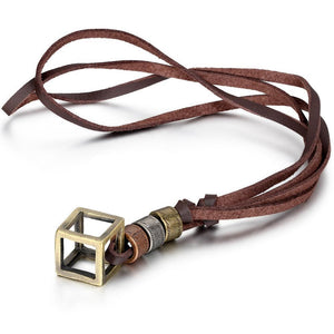 Leather Necklace Cube Box Pendant Necklace Adjustable Cord
