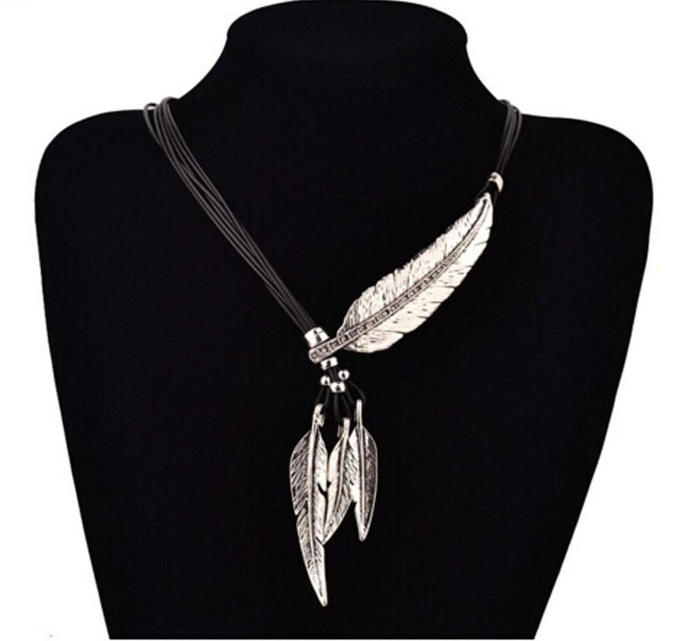 Bohemian Feather Pattern Adjustable Necklace with Leather Cord