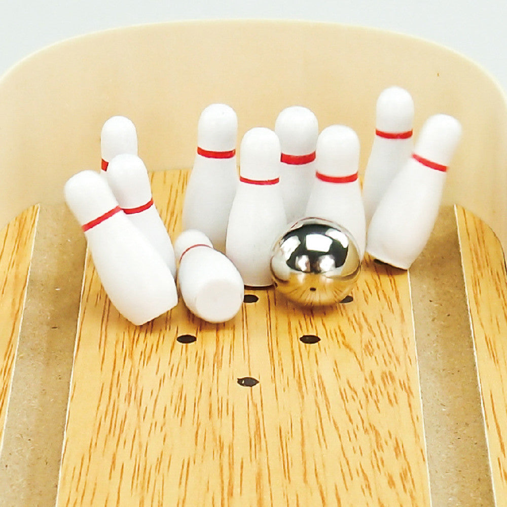 Mini Wooden Desktop Bowling Game