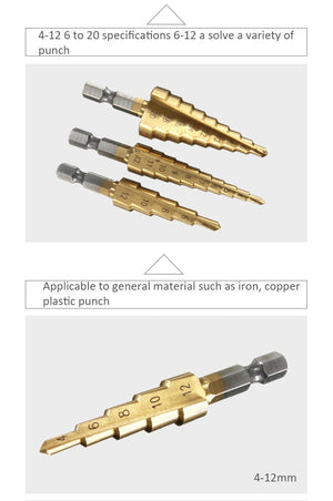 3pcs HSS Titanium Coated Step Drill Bit
