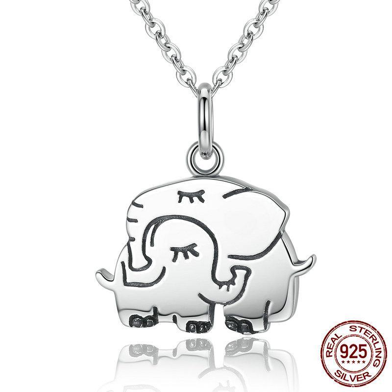 .925 Sterling Silver Mother & Child Elephant Necklace