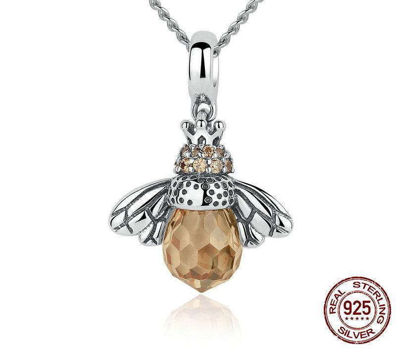 Save Our Bees .925 Sterling Silver Bee Necklace - DEALYEA.COM