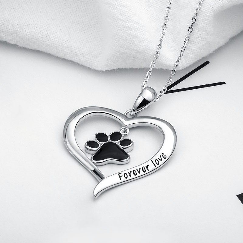 .925 Sterling Silver Dog in Heart Necklaces & Pendant