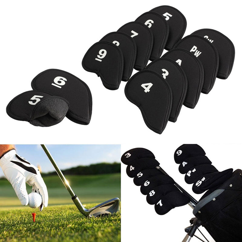10Pcs Golf Club Head Covers Black