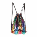 Draw String Back Pack with Sequins Multiple Colors
