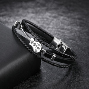 Handmade Braided Rope Guitar Bracelet For Men Leather and Stainless Steel