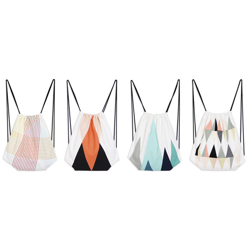 Geometric Style Drawstring Back Pack. 4 Styles