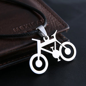 Men's Stainless Steel Bike Pendant Leather Chain