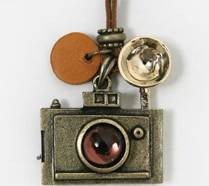 Vintage Camera Necklace Leather Cord