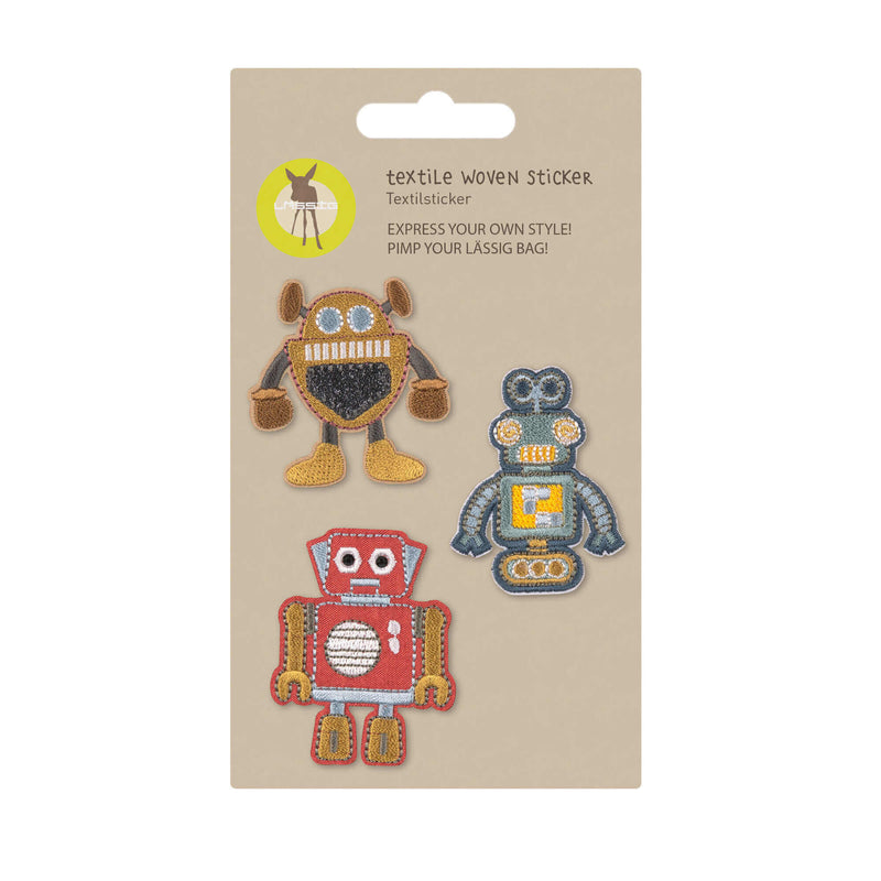 Textil-Sticker (3 Stk) - Schul Set Unique, Roboter - Lässig