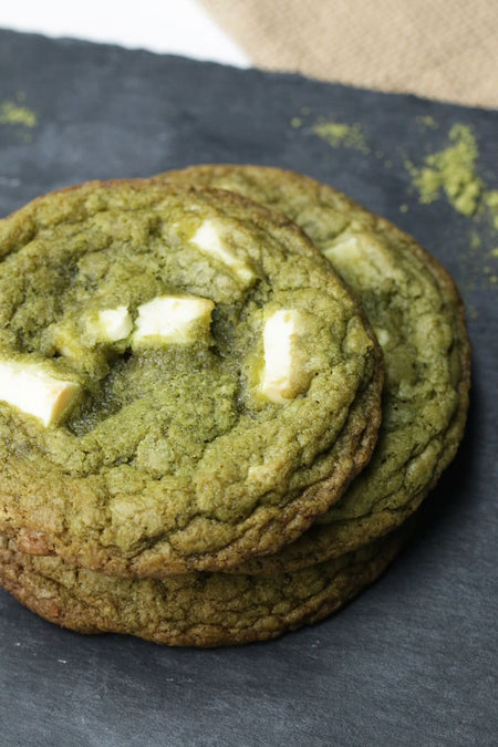 Matcha White Chocolate & Macadamia Cookies