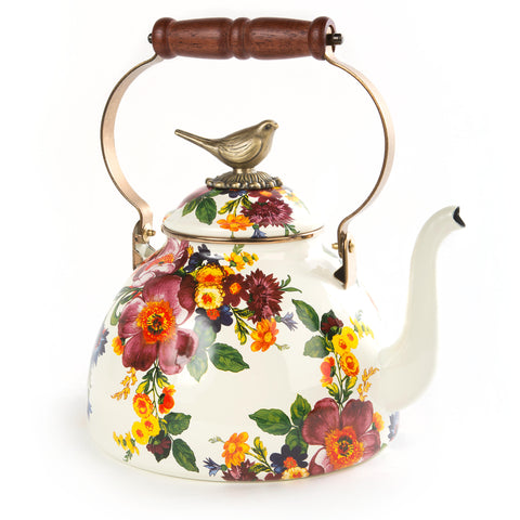 Flower Market 3 Qt Tea Kettle w/ Bird