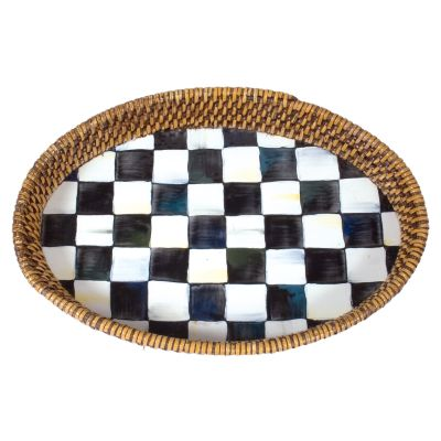 Courtly Check Rattan & Enamel Tray  Small