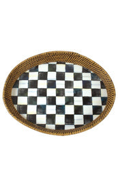 Courtly Check Enamel Rattan Tray  Large