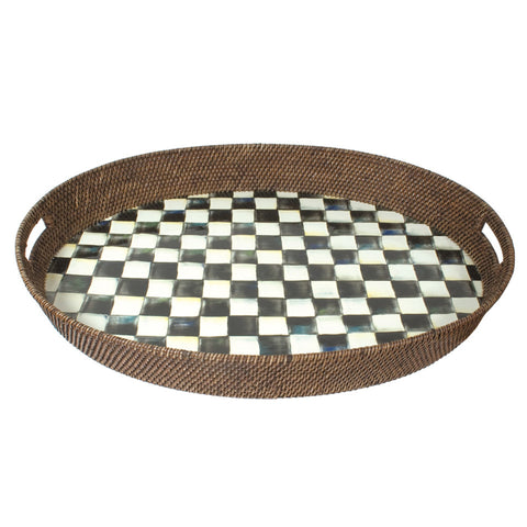 Courtly Check Rattan & Enamel Party Tray  XLarge