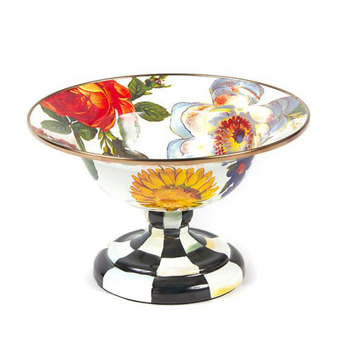 Flower Market Small Compote  White
