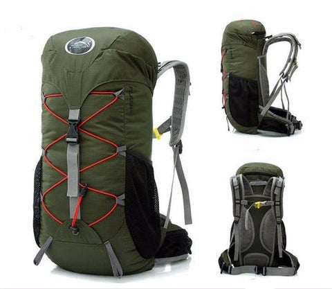 35L Waterproof Camping and Hiking Backpack Army Green