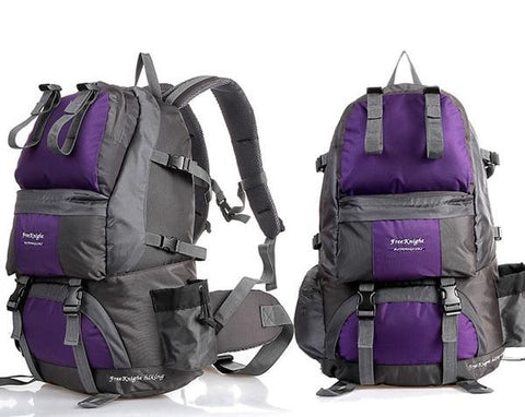 50L Polyester Water Resistant Camping and Hiking Backpack Purple