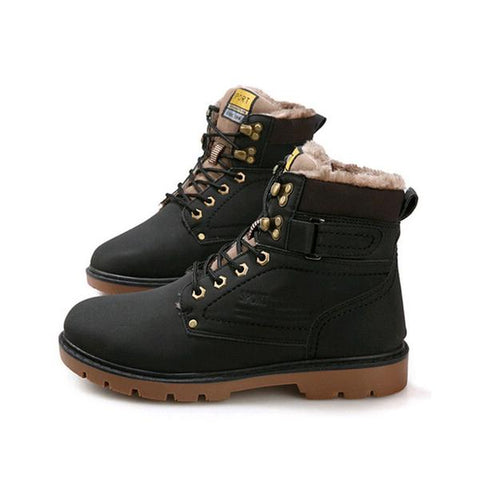 Leather Waterproof Boots Black Lined
