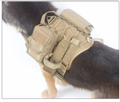Tactical Patrol Dog Vest Harness Molle System Includes 3 Molle Pouches - 3 Size and 9 Color Options - Weekend Tactial Supply