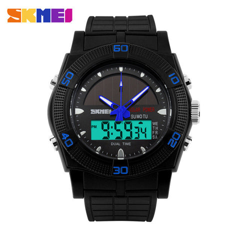Solar Power Sports LED Digital Quartz Watch Dual Display Water Proof - 5 Color Options - Weekend Tactial Supply