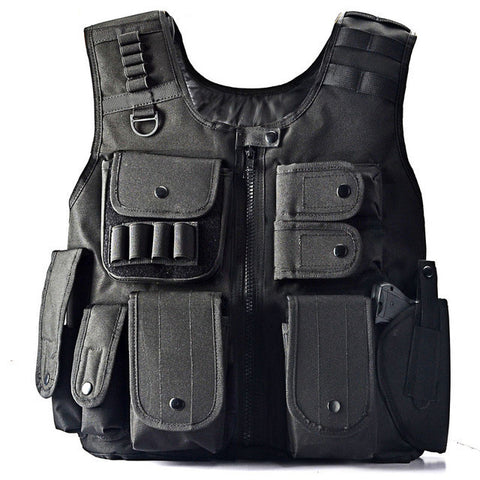 Tactical Military Style Vest With Pouches and Gun Holster Adjustable Black - Weekend Tactial Supply