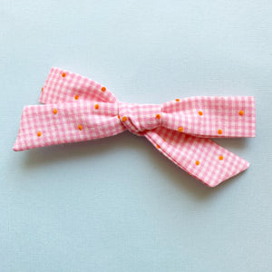 Vtg Pink Gingham Flocked Dot Monroe