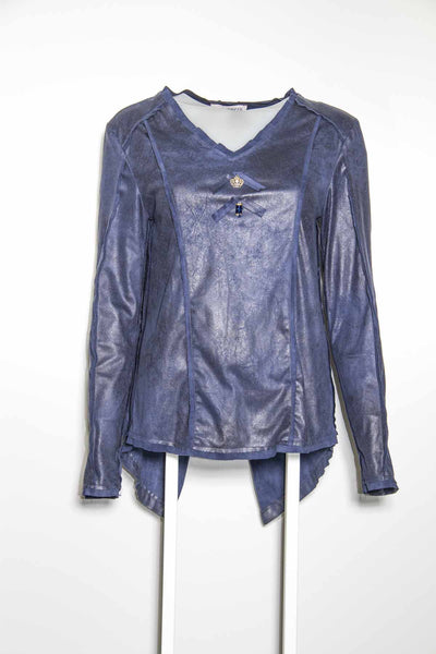 Elisa Denim Blue Leather Detail Top
