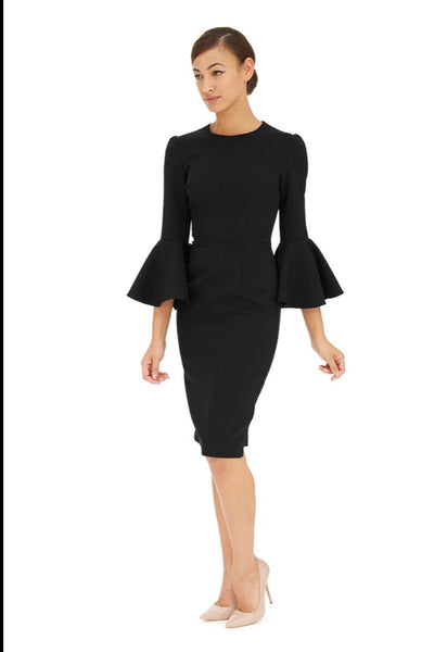 Geo Black Bell Sleeve Dress