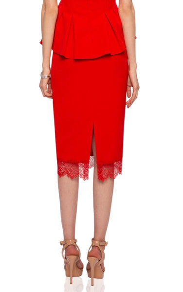 Coral red Lace trim Pencil Skirt
