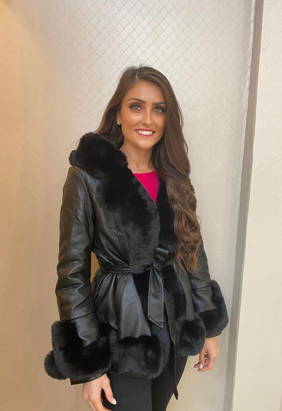 Black Faux leather/Fur  Jacket