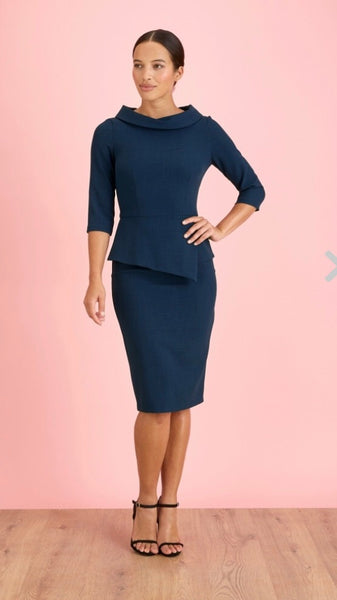 Jackie O Navy Dress
