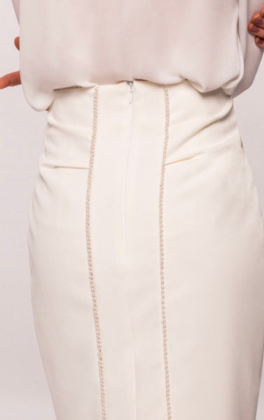 Ivory pencil Skirt Pearl Trim