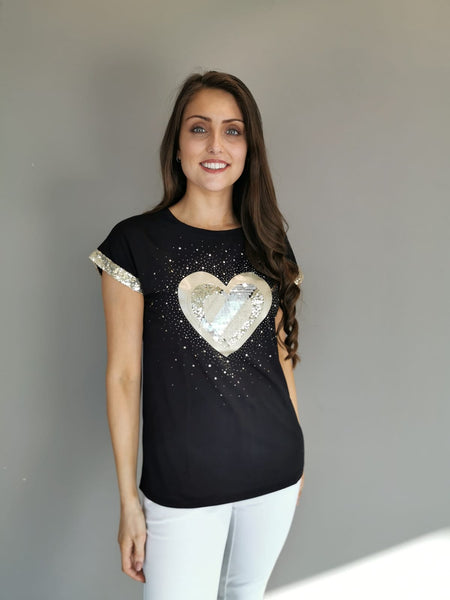 Black & Gold hearts Top
