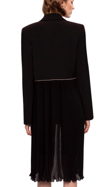 Black jacket with sheer pleated skirt Detail