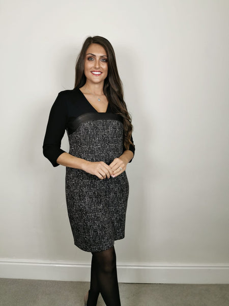 Black white tweed look Dress