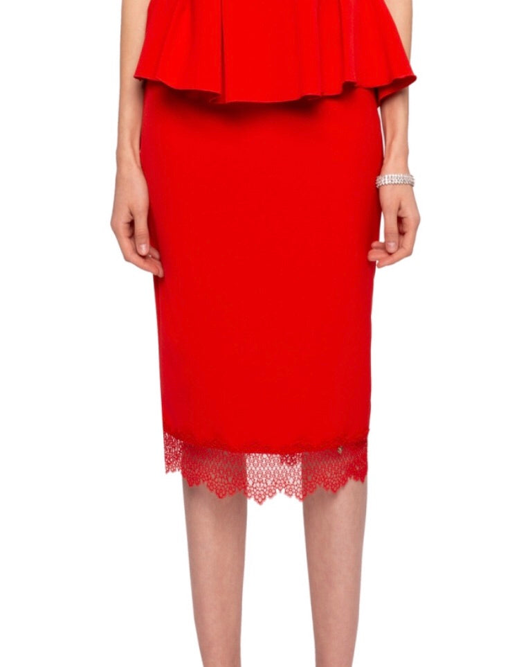 10c791da12a3 Coral red Lace trim Pencil Skirt | Olivia Danielle