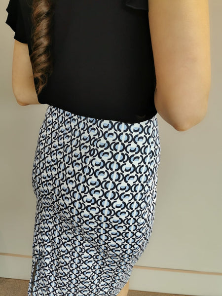 Blue White Print Skirt